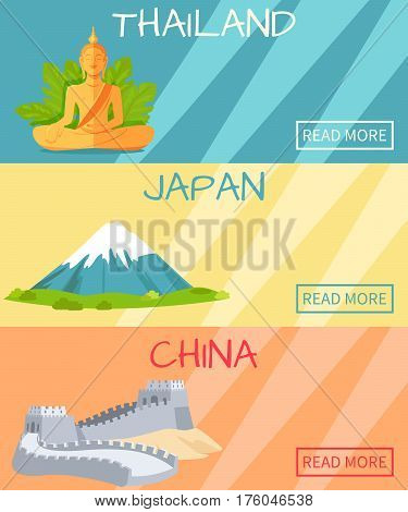 Thailand Japan China web banner with traditional elements, statue of Buddha on blue background, high mountains on yellow and Great wall of China on orange. Vector poster of eastern countries landmarks