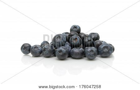 ripe blueberries on a white background. horizontal photo.