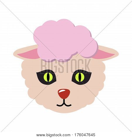 Sheep animal carnival mask vector illustration in flat style. Cute wooly lamb face. Funny childish masquerade mask isolated on white. New Year masque for festivals, holiday dress code for kids