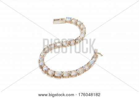 art style moonstone bracelet with a white background