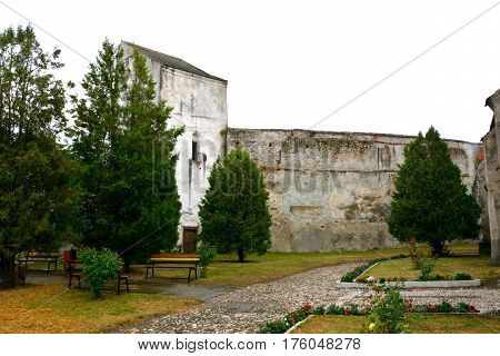 Courtyard of the fortified medieval church Ghimbav, Transylvania. The town was first mentioned in a letter written in 1420 by King Sigismund of Luxembourg