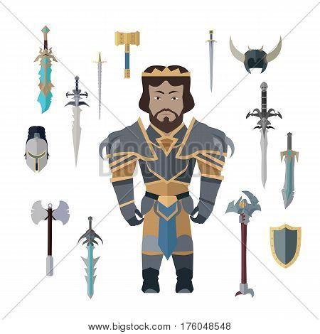 Fantasy knight character with cold weapons vector. Flat design. King personage in fairy bright armor and collection of armor, swords, axes, shields. hummer. Illustration for games industry concepts.