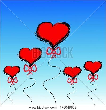 Herts balloon on blue background.Vector illustration. Eps10