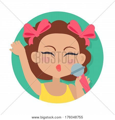 Singing girl with brown wavy hair. Two bows on head. Portrait of nice female person in bright blouse. Closed eyes. Simple cartoon style. Young singer avatar user pic. Front view. Flat design. Vector
