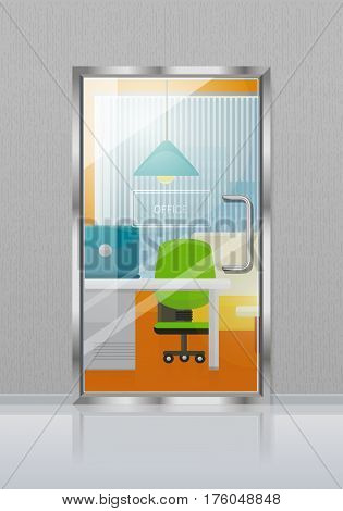 Glass transparent door in grey wall with nameplate. Vector illustration of closed door to colourful study with blue triangular hanging lamp, green chair, laptop on light table, sofa near window