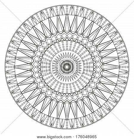 Ancient mandala coloring page for adults on white background