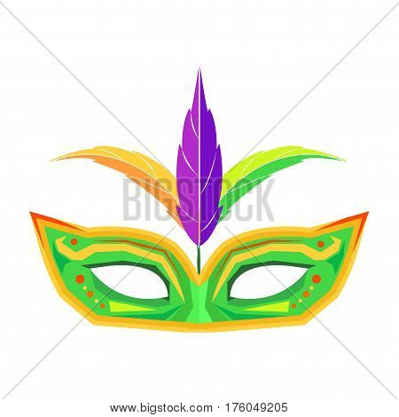 Mardi Gras green mask with pattern and three colored feathers for carnival celebration isolated on white background. Accessory to hide your face. Woman carnival costume element vector illustration.