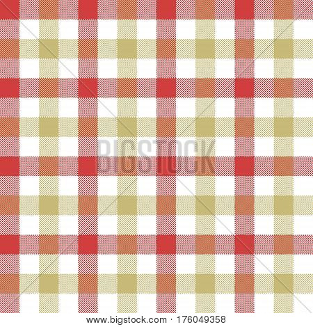 Red beige check tablecloth seamless pattern. Vector illustration. EPS 10.