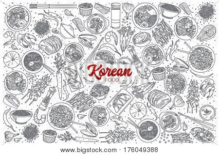 Hand drawn Korean food doodle set background with red lettering in vector