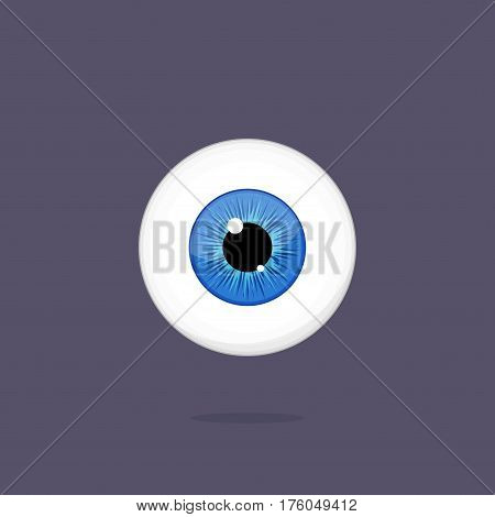 Human blue eye isolated on dark background. Eyeballs iris pupil vector Illustration