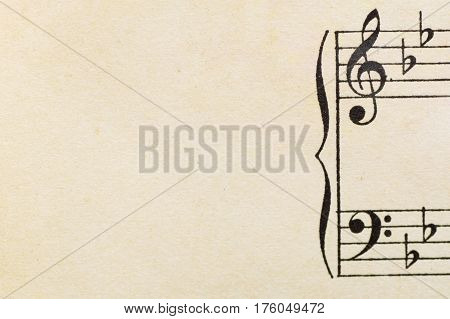 vintage music  with space for text horizontal positioning of the image treble clef and bass clef