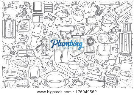 Hand drawn plumbing fixtures doodle set background with blue lettering in vector
