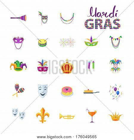 Mardi Gras set of carnival decorative elements in flat style. Vector poster of isolated colorful traditional signs for fest celebrating on white. Collection Mardi Gras symbols and party decorations