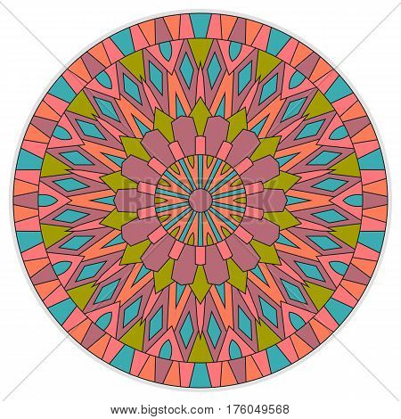 Colored ethnic ancient ornament mandala isolated on white background.