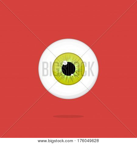 Human yellow - green eye isolated on red background. Eyeball iris pupil vector Illustration