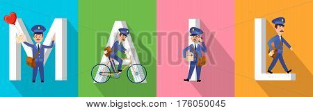 MAIL banner with big white letters and postman character set. Vector illustration of mailman character set, carrier on bicycle, with heart balloon and envelope, speaking over phone and just walking