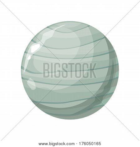 Planet Uranus icon. Element of solar system. Solar system. Isolated planet. Gray round planet. Isolated object in flat design on white background. Vector illustration.