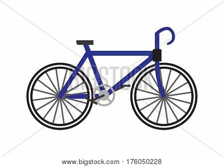 Bicycle icon in flat. Blue bike isolated on white background. Race road bike. Bicycle eco transport. Bicycle logo. Bicycle race. Bicycle sport. Bicycle modern.