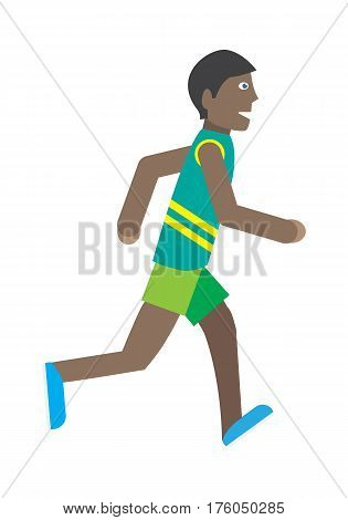 Boy running isolated on white. Male runner in green shorts and tshirt. Active man jogging sign symbol icon. Healthy way of life and sport concept. Young jogger athlete. Athletics competition. Vector