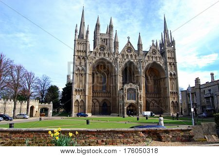 PETERBOROUGH, UNITED KINGDOM - MARCH 14, 2008 - West front view of Peterborough Cathedral (Cathedral Church of St. Peter St. Paul and St. Andrew) Peterborough Cambridgeshire England UK Europe, March 14, 2008.