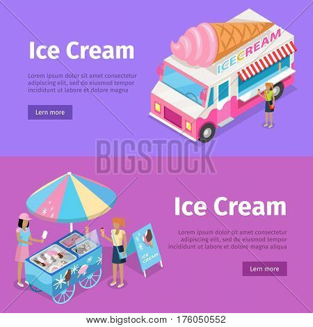 Ice cream mobile umbrella cart and minivan poster with violet backgrounds. Vector web illustration in cartoon style of faceless people buying and selling ice near colourful moving transports.