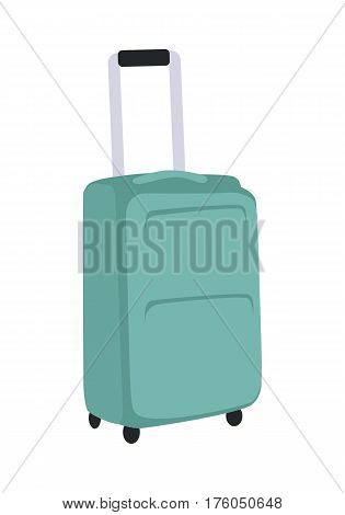 Gray suitcase isolated on white. Summer vacation, travel, journey, trip concept. Luggage bag with trolley. Travelling conceptual banner. Business travel concept. Vector illustration in flat style.