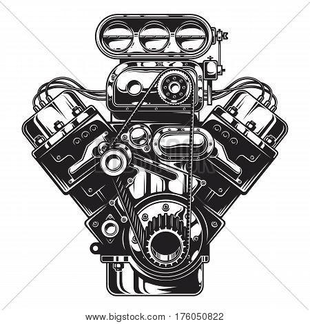 Isolated monochrome illustration of car engine on white background