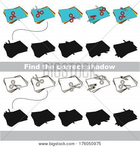 Set of Appliques with shadows to find the correct one. Game to compare and connect objects and their true shadows, the educational kid gaming, logic game with simple game level for preschool children.
