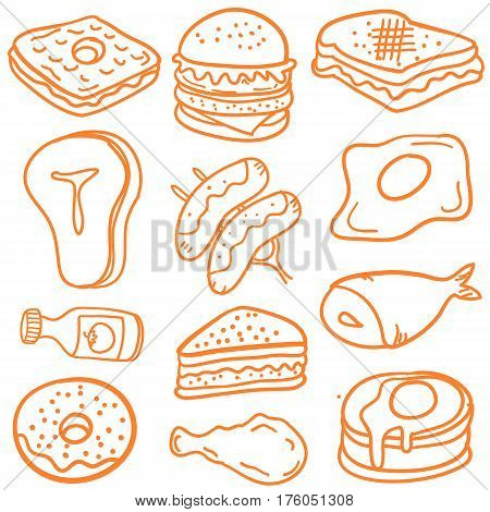 Illustration food various of doodles collection stock