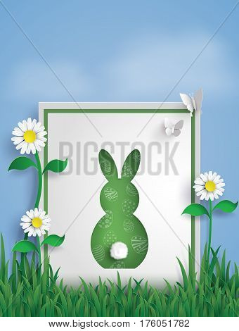 Greeting card made form Rabbit on garden with Butterfly . Happy Easter day and Spring seasonpaper art and craft style.