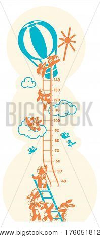 Height charts. Sunbeams, Meter wall or height meter from 40 to 140 centimeter. Vector illustration with sunny bunny.