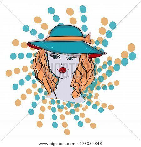 half tone pattern with dots - Monochrome halftone texture, blue COLOR, hat salon concept logo