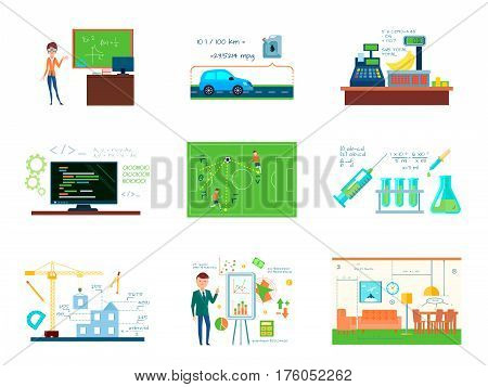 Mathematics conceptual compositions set with business building programming chemistry trading and other enterprises using mathematical calculations vector illustration
