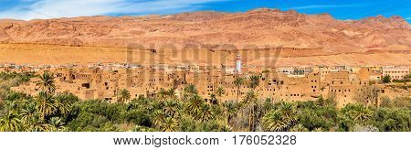 Panorama of Tinghir city in Morocco. Tinghir is an oasis on the Todgha River