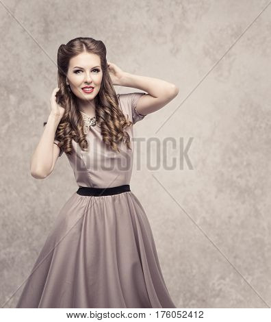 Women Retro Beauty Hairstyle Fashion Model in Elegant Vintage Dress Old Style Lady Curly Hair