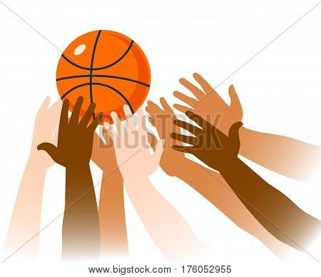 Basketball game moment closeup with ball and hands of players on white background vector illustration