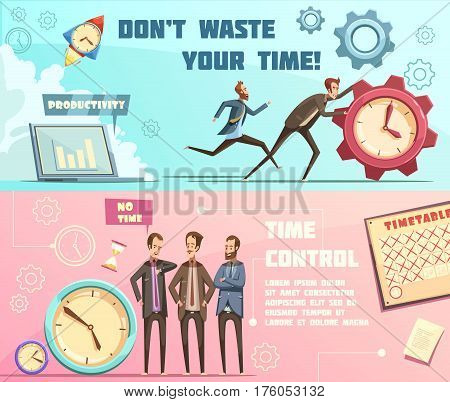 Horizontal banners in retro cartoon style with time management including effective planning and productivity isolated vector illustration