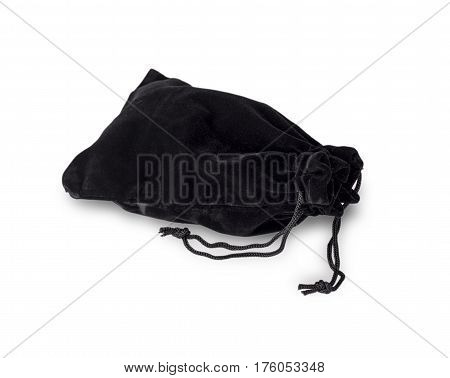 Black velvet pouch on the white background