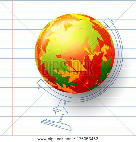 Concept autumn school. Child's drawing in the notebook. Sphere of autumn maple leaves abstract colored globe. Stock vector illustration