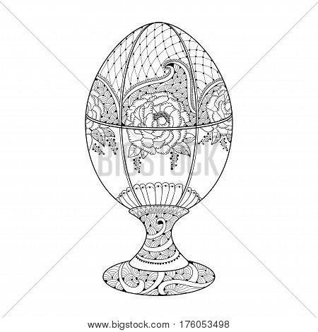 Vector Happy Easter Faberge egg with floral motifs in contour style isolated on white background. Decor with stylized ornate flowers and lace in contour style for coloring book and greeting design.