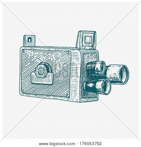 Photo movie film camera vintage, engraved hand drawn in sketch or wood cut style, old looking retro lens, isolated vector realistic illustration.