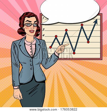 Pop Art Successful Business Woman Pointing on Growth Graph. Business Presentation. Vector illustration