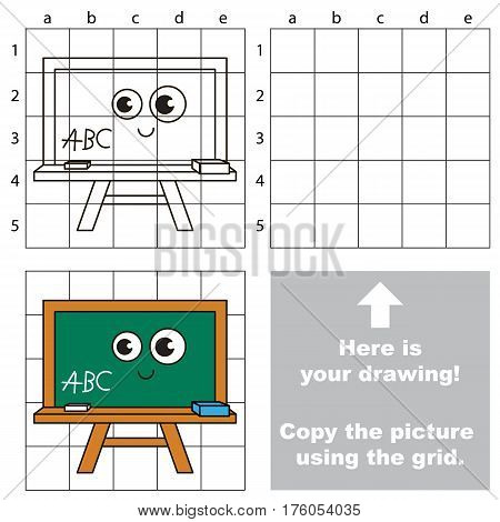 Copy the picture using grid lines, the simple educational game for preschool kids with easy education game level, the kid drawing game with Green Board