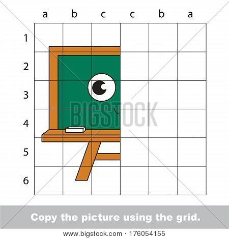 Vector kid educational game with easy game level for preschool kids education, finish the simmetry picture using grid sells, the funny drawing kid school. Drawing tutorial for half Green Board