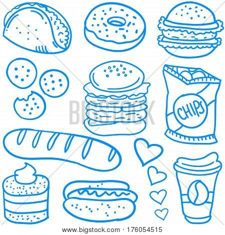 Doodle of food various collection stock vector art