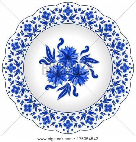 Decorative porcelain plate ornate with traditional blue floral pattern. Decorated in Russian style Gzhel with cornflowers and leaves. Vector illustration isolated object.