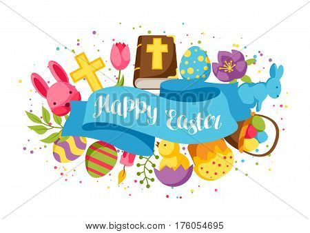 Happy Easter greeting card with decorative objects, eggs and bunnies.
