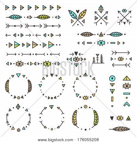 Set of tribal elements. Vector hand drawn illustration