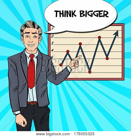 Pop Art Business Man Pointing Growth Graph. Business Presentation. Vector illustration