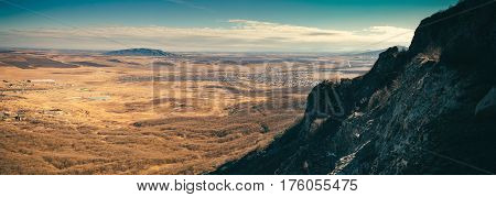 Scenic Rural Landscape With Mountains.